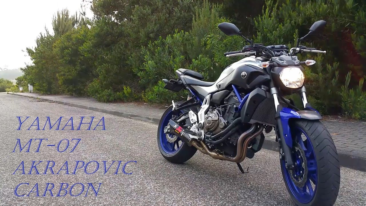 yamaha mt 07 race blue 2016 akrapovic carbon racing line exhaust system youtube. Black Bedroom Furniture Sets. Home Design Ideas
