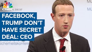 CEO Mark Zuckerberg: Facebook doesn't have a secret deal with President Donald Trump