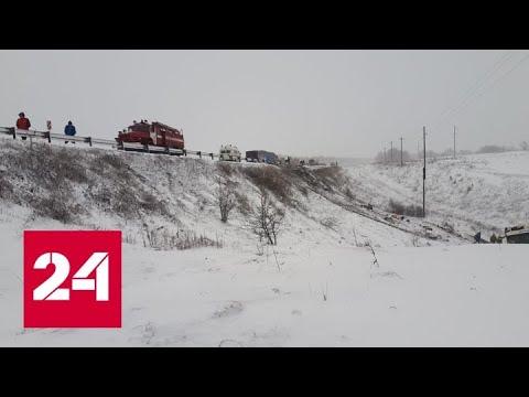 Появилось видео с места столкновения двух автобусов под Тамбовом - Россия 24