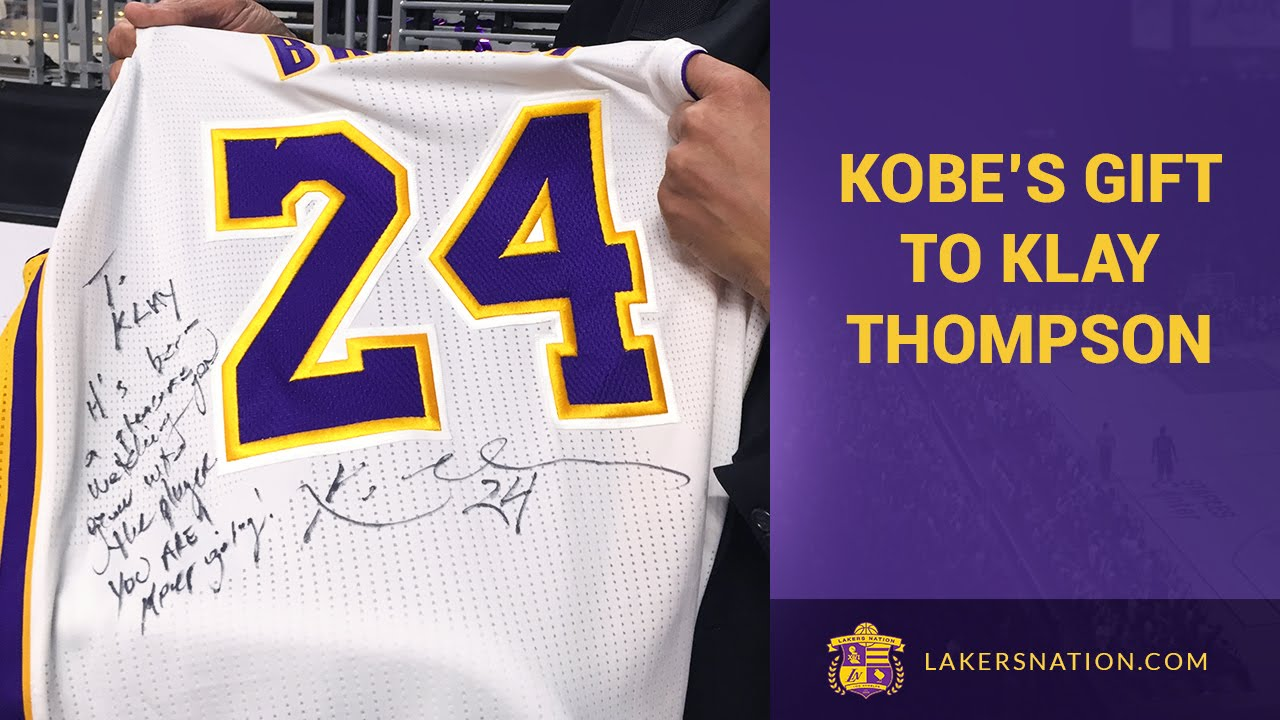 Kobe Bryant Gives Klay Thompson His Game Worn Jersey