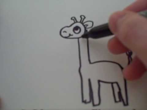 how to draw a cartoon giraffe youtube