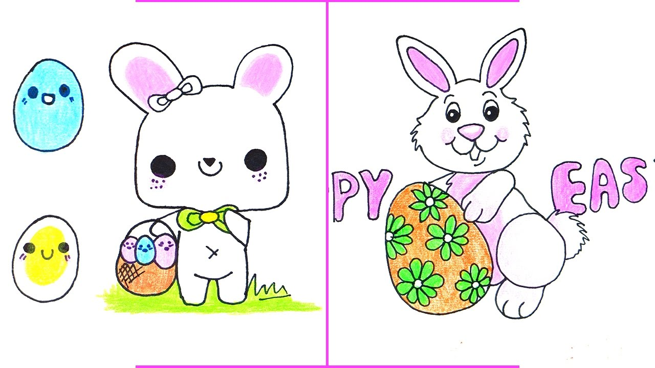 Easter Drawings  How To Draw A Easter Bunny With Easter Egg Easily
