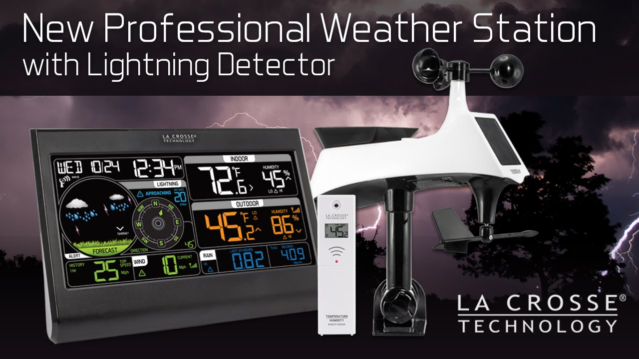 professional weather station with lightning detector youtube. Black Bedroom Furniture Sets. Home Design Ideas