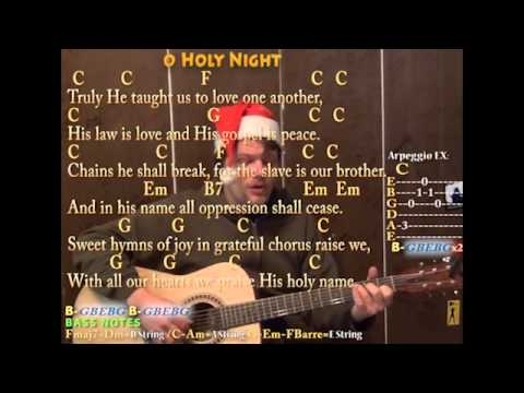 O Holy Night Christmas Fingerstyle Guitar Cover Lesson With Lyrics