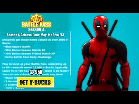 Fortnite SEASON 4 Release Date & Time! - NEW Season 4 Battle Pass Info! (Fortnite Battle Royale)