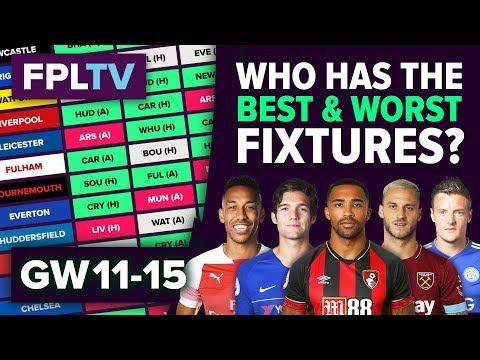 Who Has The Best Fixtures?   Gameweek 11-15   FPL FIXTURE WATCH   Fantasy Premier League