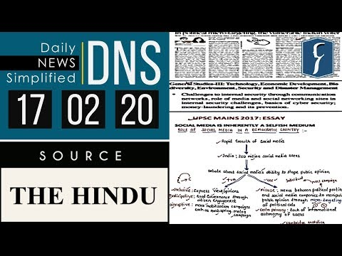 Daily News Simplified 17-02-20 (The Hindu Newspaper - Current Affairs - Analysis for UPSC/IAS Exam)