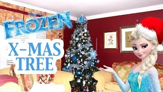 How to decorate a Disney Frozen themed Christmas tree tutorial with DIY Elsa and Anna ornaments and Elsa tree topper.