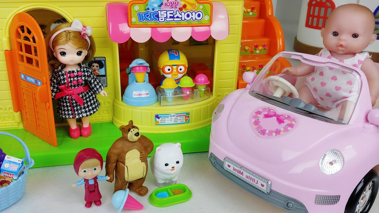 Baby doll Ice cream and house toys play story - ToyMong TV 토이몽