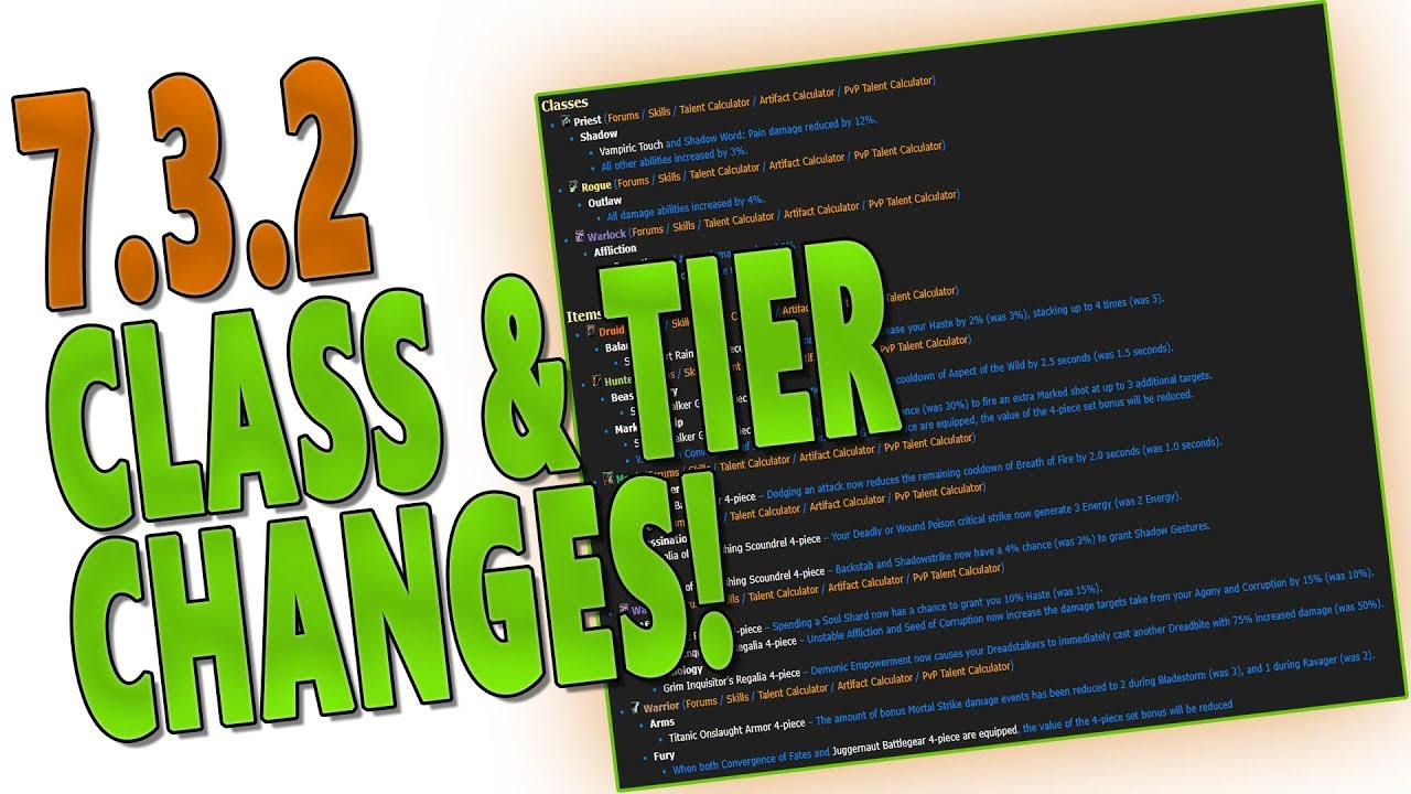 7 3 2 Class Tier Changes Before Mythic Antorus Tier 20 V Tier 21 Rankings Multidotters Nerfed Youtube