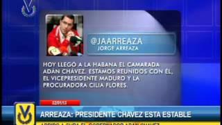 """Ministro Arreaza asegura que Chávez se mantiene """"estable"""" dentro de su """"cuadro delicado"""""""