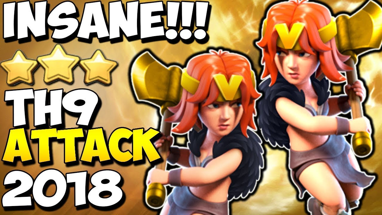 Download INSANE VALKYRIE ATTACK: TH9 STRONG WAR ATTACK STRATEGY 2018 | Clash of Clans