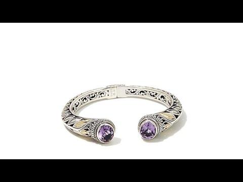 Bali Designs 6.6ctw Amethyst 2Tone Cuff Bracelet