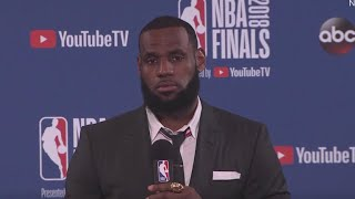 Frustrated LeBron James walks out of press conference after Game 1 loss
