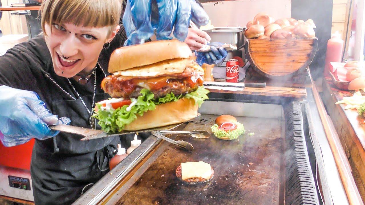 London Street Food Huge Meat Sandwich Gourmet Burger