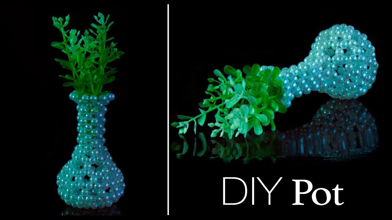 & How to make a flower vase | DIY flower pot | Beads art - YouTube