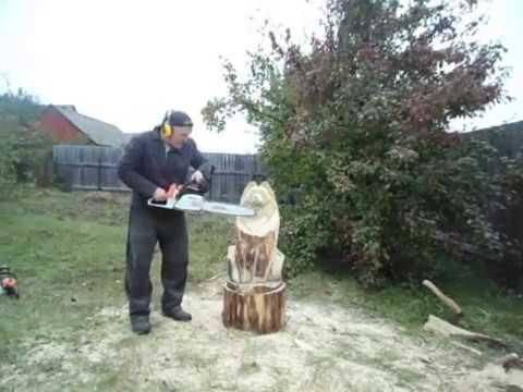 .Мини мастер класс - Волк - 1 Хобби резьба по дереву скульптура !
