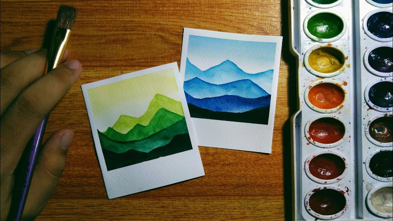 Easy Polaroid Inspired Monochromatic Watercolor Paintings For Beginners Step By Step Tutorial Youtube