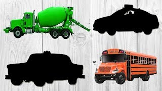 Construction Vehicles for Children, Learning Videos with Toys Cars School Bus, Police Cars