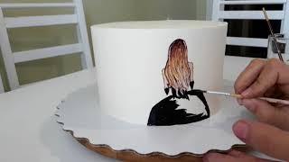 Рисунок на креме. Рисунок на кремовом торте. Роспись по крему