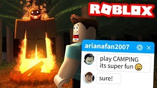 My fans TRICKED MË into playing this Roblox game.. (Camping)