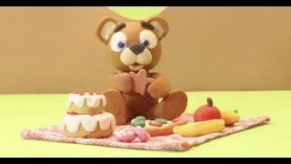 Sweet brown bear clay cartoon for kids - BabyClay