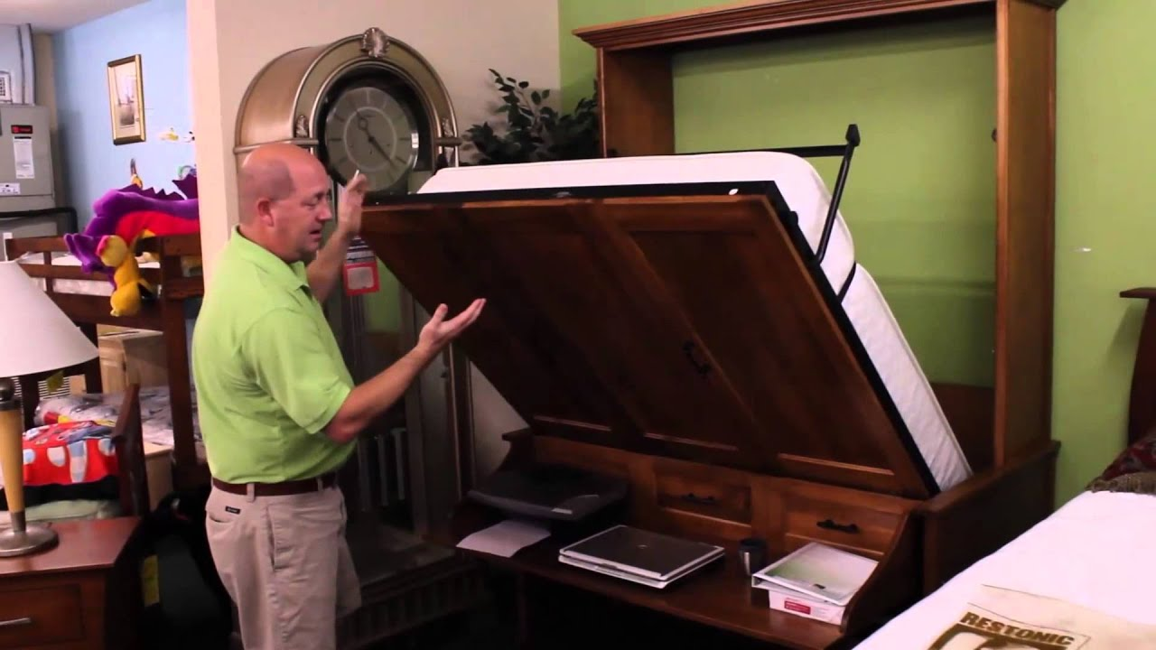amish direct  oakwood furniture murphy bed built   amish  america youtube