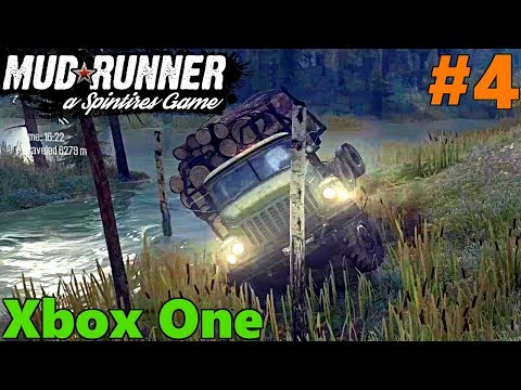 SpinTires Mud Runner: XBOX ONE, Let's Play, Part 4 | WE SHOULDN'T HAVE GONE TO THE SWAMP!!