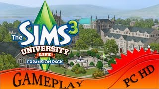 The Sims 3 University Life - Gameplay (First look at University town) PC | HD