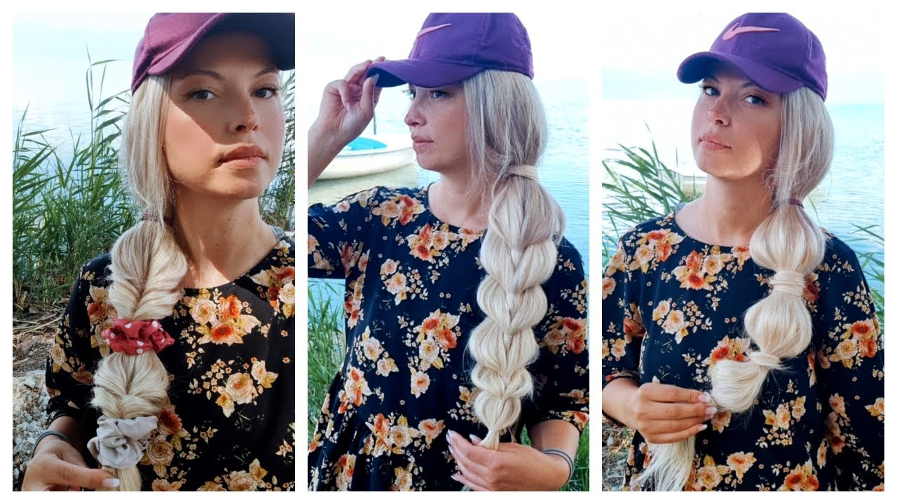 Quick and Easy HEATLESS BASEBALL CAP- HAT HAIRSTYLES   Summer hairstyles   Long hair