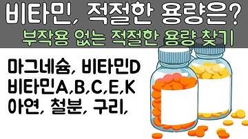 비타민, 미네랄 영양제의 적절한 복용량을 아는 방법 ( 칼슘, 마그네슘, 비타민A, B, C, D, E, 철분, 구리...)