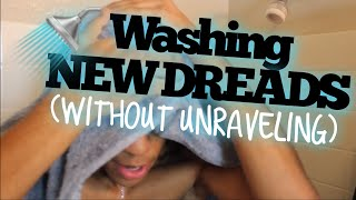 How To Wash Starter Locs WITHOUT Unraveling | First Time Washing Dreads