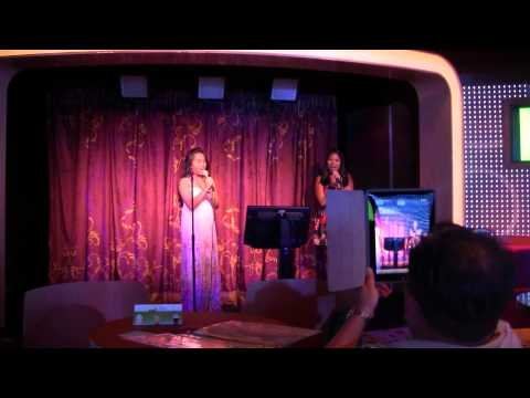 Disney Cruise Family Karaoke Night - Elyssa and Emily Sing!