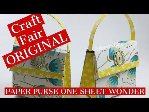 CRAFT FAIR ORIGINAL!!  ONE SHEET WONDER PAPER PURSE!!  Perfect Gift Card Holder!!