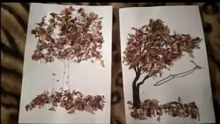 Как сделать аппликацию из осенних листьев