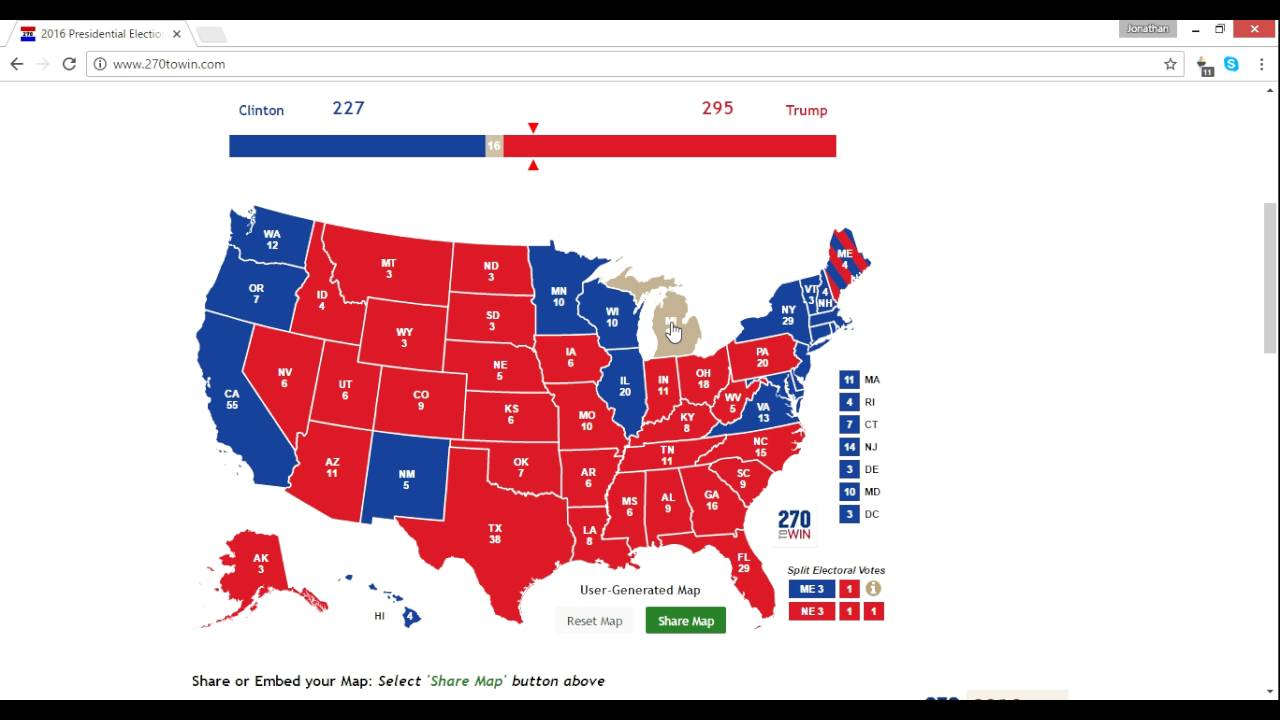 Electoral Map Prediction Trump Vs Clinton Weeks - Final us electoral map 2016
