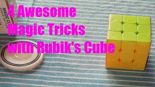 4 Awesome Magic Tricks with Rubik's Cube || In Bengali 😱😱😱