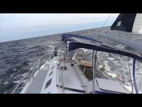 Awesome single-handed sailing at Atlantic ocean. Hunter 466.