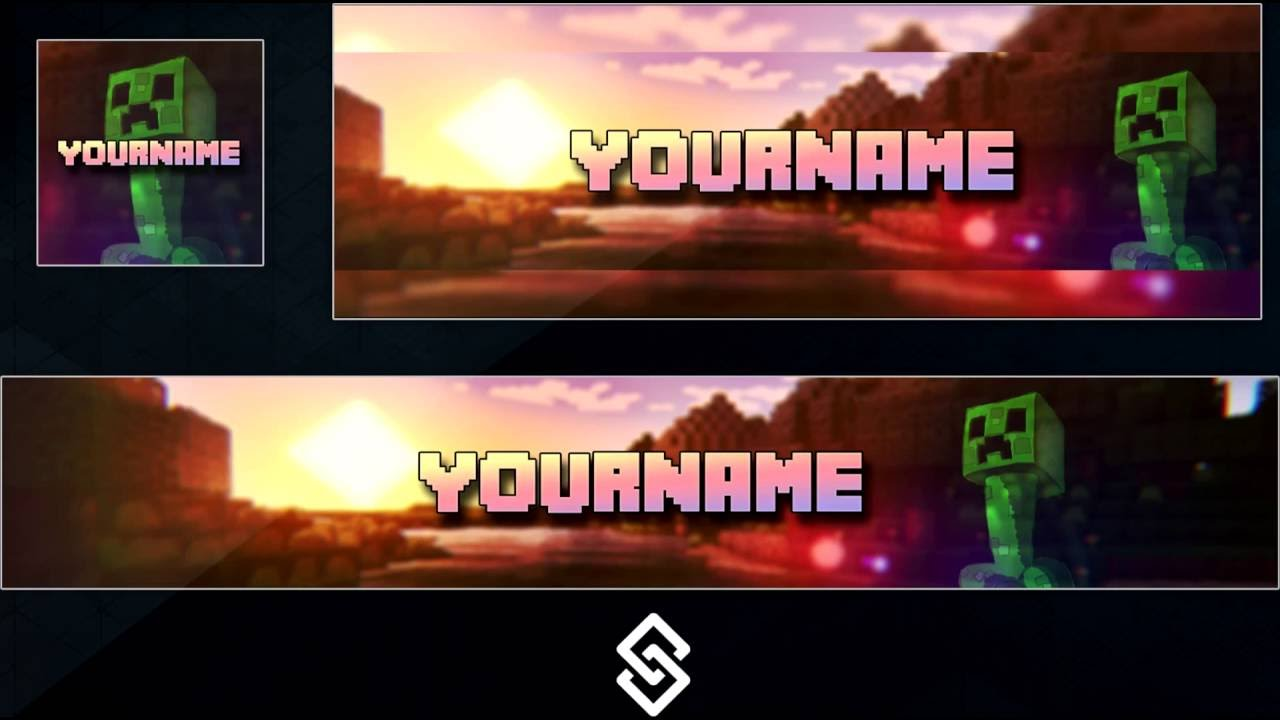 minecraft style youtube logo banner and twitter header template