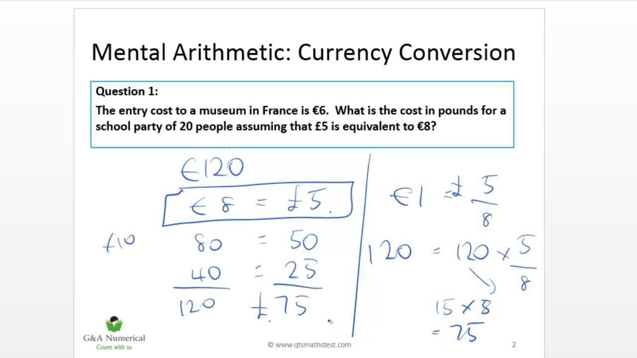 QTS Numeracy Test Demo: Currency conversion - YouTube