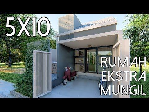 Desain rumah ekstra mungil 5x10m [kode 010B] - YouTube