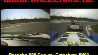 splitscreen caterham r400 gegen porsche 996 cup nrburgring gp strecke