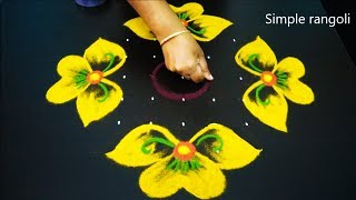 Amazing Simple Kolam art designs | Cute flower rangoli designs for diwali | 9X3X3 muggulu