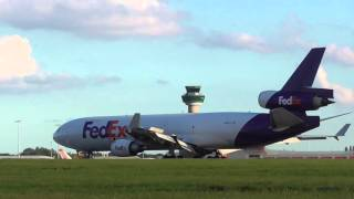 Fedex Express Mcdonnell Douglas MD 11 plane lands london Stansted Airport 9oct15 457p