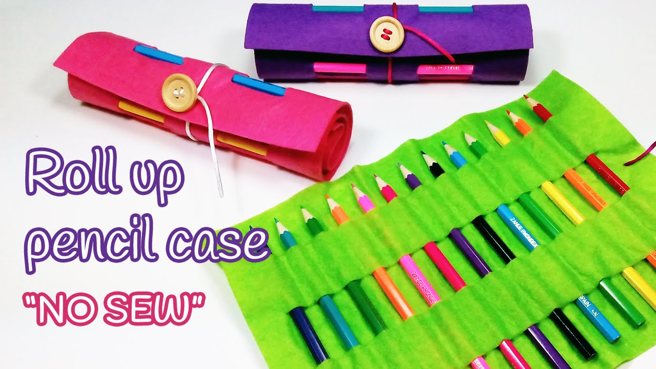 Diy crafts roll up pencil case back to school innova - Manualidades infantiles fieltro ...