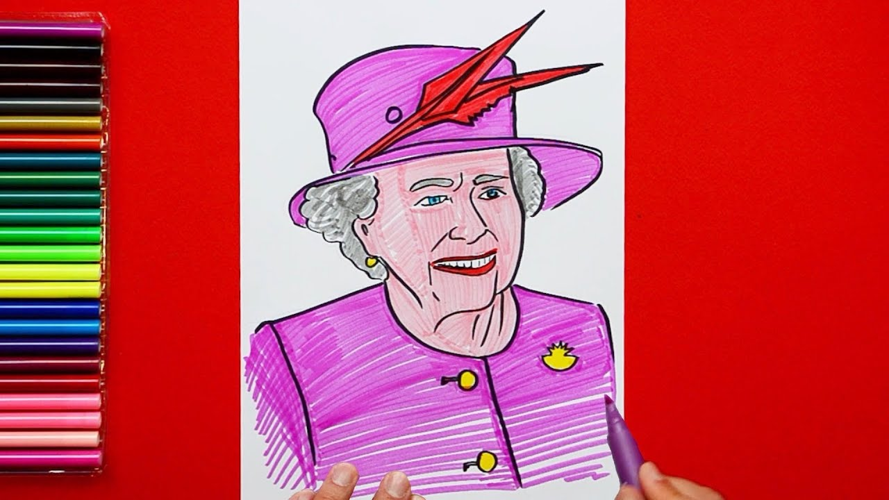 How To Draw And Color Queen Elizabeth 2 Youtube