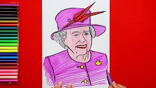 How to draw and color Queen Elizabeth 2