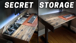 DIY - The CLEANEST desk set-up/build ever! Space saver hidden storage and wireless charging!