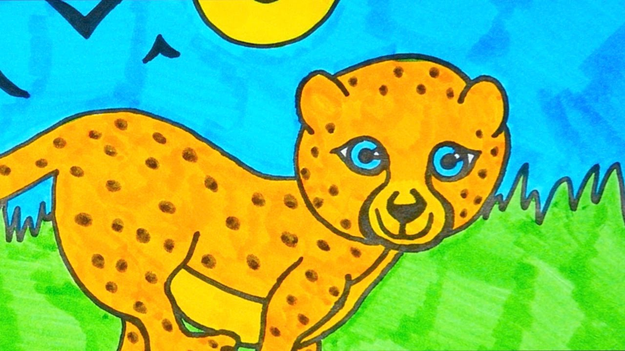 How To Draw A Cartoon Cheetah | Kids Coloring Video - YouTube