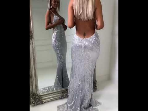 new-sexy-backless-sequins-v-neck-evening-dresses-|-mermaid-backless-silver-simple-party-dress